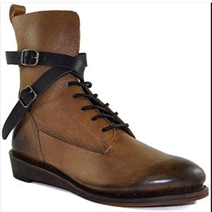 "GeeWaWa brown leather strap ""Casey"" boots size 9"